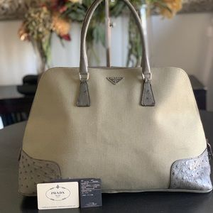 Prada canapa and struzzo satchel